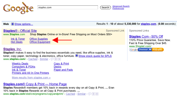 Sitelinks קיצורי דרך בקישור הממומן של גוגל אדוורדס