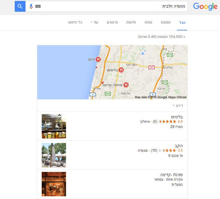 תוצאות חיפוש מקומיות בגוגל
